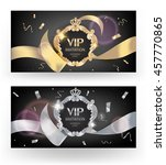 vip elegant cards  with  silk... | Shutterstock .eps vector #457770865