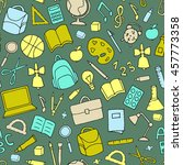 vector school supplies seamless ... | Shutterstock .eps vector #457773358