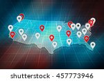 us map with pins of biggest us... | Shutterstock . vector #457773946
