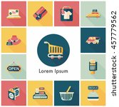 shopping and online shop icons... | Shutterstock .eps vector #457779562