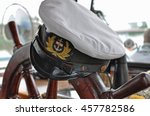 captain's hat on the steering... | Shutterstock . vector #457782586