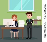 boss angry at employee. vector... | Shutterstock .eps vector #457785706