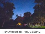 camping in campground area at night with star on the sky in national park campground. - stock photo
