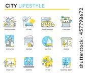 city lifestyle concept icons ... | Shutterstock .eps vector #457798672