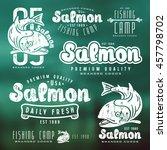 set of fishing labels in retro... | Shutterstock .eps vector #457798702