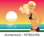 sexy glamorous blond beach girl ... | Shutterstock .eps vector #457801456