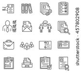 summary icons set. interview... | Shutterstock .eps vector #457802908