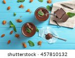 chocolate mousse with mint in... | Shutterstock . vector #457810132