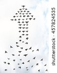 flock of birds forming an arrow ... | Shutterstock . vector #457824535