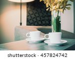 white coffee cup on wooden... | Shutterstock . vector #457824742