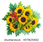 round bouquet of sunflowers... | Shutterstock . vector #457825402