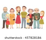 big family   mom  dad   kids ... | Shutterstock .eps vector #457828186