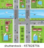 top view of the city of streets ... | Shutterstock .eps vector #457828756