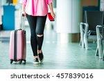 closeup airplane passenger with ... | Shutterstock . vector #457839016