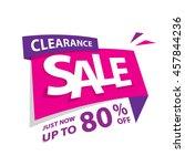clearance sale pink purple 80... | Shutterstock .eps vector #457844236