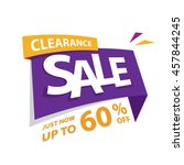 clearance sale purple yellow 60 ... | Shutterstock .eps vector #457844245