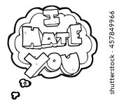 i hate you freehand drawn... | Shutterstock . vector #457849966