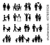 people family vector icon set.... | Shutterstock .eps vector #457855528