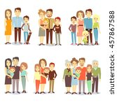 set of happy family ... | Shutterstock .eps vector #457867588
