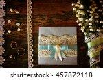 vintage photo wedding bouquet... | Shutterstock . vector #457872118