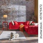 modern wall chester sofa... | Shutterstock . vector #457875472