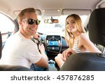man and woman looking at back... | Shutterstock . vector #457876285