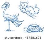 set of fantastic animals ... | Shutterstock .eps vector #457881676