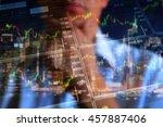 stock market trading floor.... | Shutterstock . vector #457887406