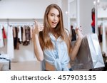 happy pretty young woman... | Shutterstock . vector #457903135