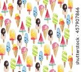 watercolor ice cream pattern   Shutterstock . vector #457907866