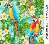 tropical flowers and birds... | Shutterstock .eps vector #457909126