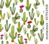 watercolor cactus seamless... | Shutterstock . vector #457911928