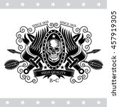 skull front view with a lower... | Shutterstock .eps vector #457919305