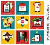 popular internet activity flat... | Shutterstock .eps vector #457925578