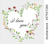 floral wreath in the shape of... | Shutterstock .eps vector #457927282