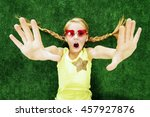 cheerful little girl in... | Shutterstock . vector #457927876