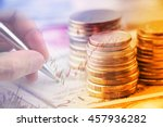 closeup view   stack of coins...   Shutterstock . vector #457936282