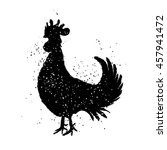 chinese zodiac black rooster... | Shutterstock .eps vector #457941472