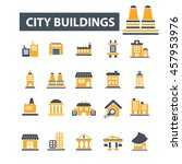 city buildings icons | Shutterstock .eps vector #457953976