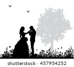 vector wedding couple... | Shutterstock .eps vector #457954252