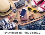 travel accessories on wooden... | Shutterstock . vector #457955512
