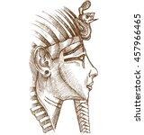 gold tutankhamon mask hand drawn   Shutterstock .eps vector #457966465