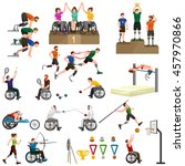people on wheelchair disabled... | Shutterstock .eps vector #457970866