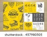 vintage fast food menu design.... | Shutterstock .eps vector #457980505