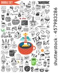 doodles set   coffee   tea.... | Shutterstock .eps vector #457983286