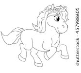 pretty pony coloring book page | Shutterstock .eps vector #457988605