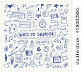 back to school. notebook doodle ... | Shutterstock .eps vector #458002882
