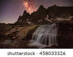 Waterfall And Milky Way In The...