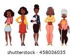 set of black women of different ... | Shutterstock .eps vector #458036035