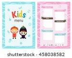 kids menu card with little... | Shutterstock .eps vector #458038582